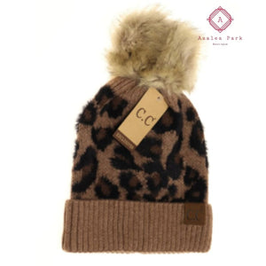 CC Leopard Pom Beanie - Mocha - Hats & Hair Accessories