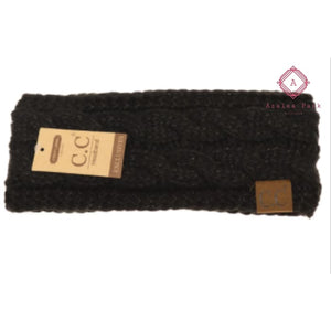 CC Metallic Cable Knit Head Wrap - Black - Hats & Hair Accessories
