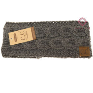CC Metallic Cable Knit Head Wrap - Dk. Grey - Hats & Hair Accessories