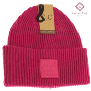 CC Solid Ribbed Beanie w/ Rubber Patch - Hot Pink - Hats & Hair Accessories