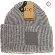 Load image into Gallery viewer, CC Solid Ribbed Beanie w/ Rubber Patch - Lt. Grey - Hats & Hair Accessories