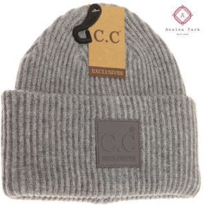 CC Solid Ribbed Beanie w/ Rubber Patch - Lt. Grey - Hats & Hair Accessories