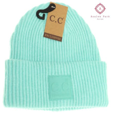 Load image into Gallery viewer, CC Solid Ribbed Beanie w/ Rubber Patch - Mint - Hats & Hair Accessories
