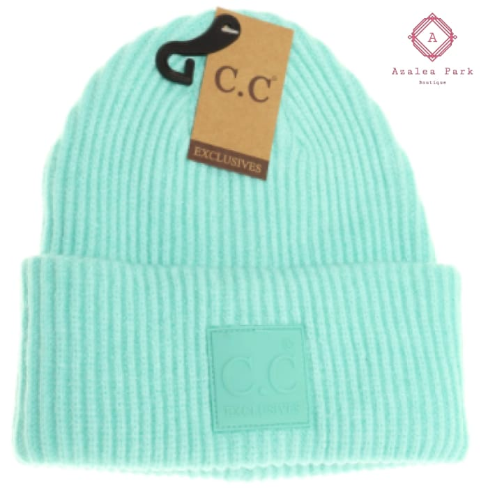 CC Solid Ribbed Beanie w/ Rubber Patch - Mint - Hats & Hair Accessories