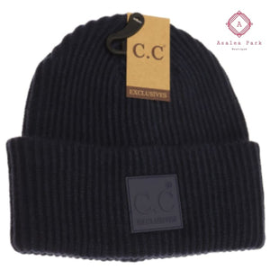 CC Solid Ribbed Beanie w/ Rubber Patch - Navy - Hats & Hair Accessories