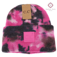 Load image into Gallery viewer, CC Tie Dye Beanie - Black / Hot Pink - Hats & Hair Accessories