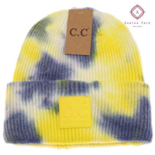 Load image into Gallery viewer, CC Tie Dye Beanie - Denim / Yellow - Hats & Hair Accessories