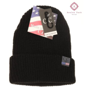CC Unisex Knit Cuffed Beanie - Black - Hats & Hair Accessories