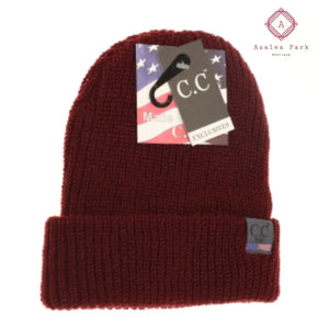 CC Unisex Knit Cuffed Beanie - Burgundy - Hats & Hair Accessories