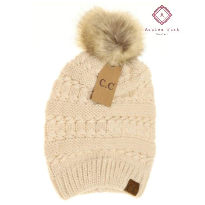 CC Whipstitch Knit Faux Fur Pom Beanie - Beige - Hats & Hair Accessories
