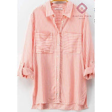 Load image into Gallery viewer, Classic Striped Button Down Shirt - S / Coral - Top