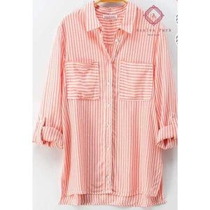Classic Striped Button Down Shirt - S / Coral - Top