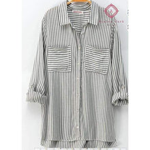 Load image into Gallery viewer, Classic Striped Button Down Shirt - S / Gray - Top