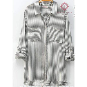Classic Striped Button Down Shirt - S / Gray - Top