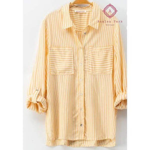 Classic Striped Button Down Shirt - Top