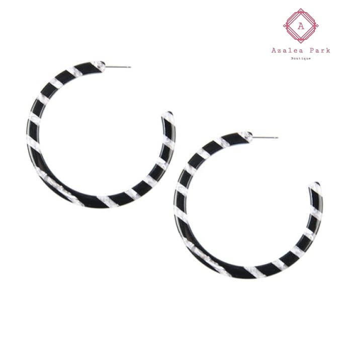 Confetti Bomb Hoops - Black & Gray - Jewelry
