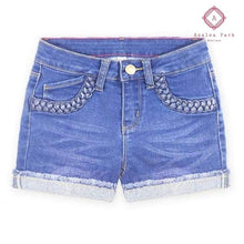 Load image into Gallery viewer, Criss Cross Denim Shorts - 7 / Blue Jay - Girls Bottoms