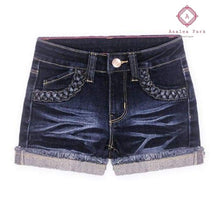 Load image into Gallery viewer, Criss Cross Denim Shorts - 7 / Blueberry Denim - Girls Bottoms