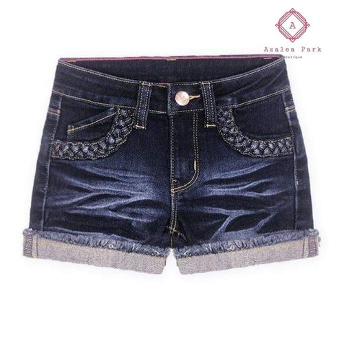 Criss Cross Denim Shorts - 7 / Blueberry Denim - Girls Bottoms