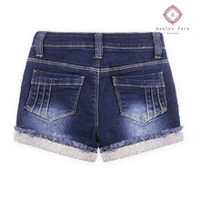 Load image into Gallery viewer, Criss Cross Denim Shorts - Girls Bottoms