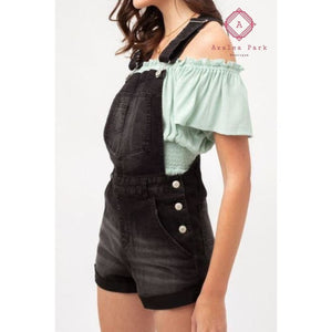 Denim Short Overalls - S / Black - Bottoms