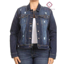 Load image into Gallery viewer, Distressed Denim Jacket - 1X - Plus Tops