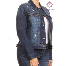 Load image into Gallery viewer, Distressed Denim Jacket - Plus Tops