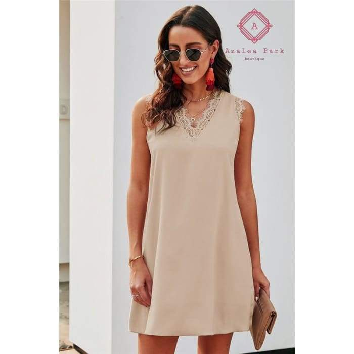 Eyelash Lace Shift Dress - S / Beige - Dress
