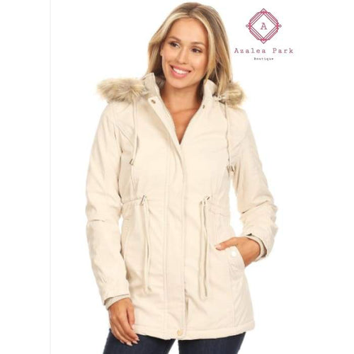 Faux Fur Hooded Jacket - Small - Outerwear