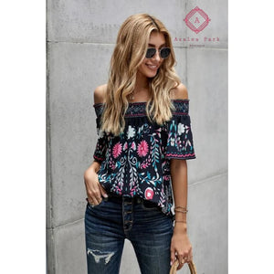 Floral Shift Top - S / Black - Top