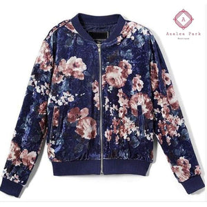 Floral Velour Bomber - 7/8 / Navy - Girls Tops