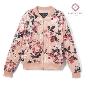 Floral Velour Bomber - 7/8 / Rose - Girls Tops