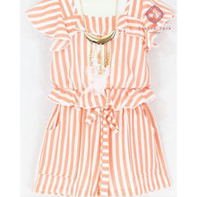 Load image into Gallery viewer, Girls Stripe Short & Top Set - 4 / Coral - Girls Sets