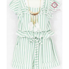 Load image into Gallery viewer, Girls Stripe Short & Top Set - 4 / Mint - Girls Sets