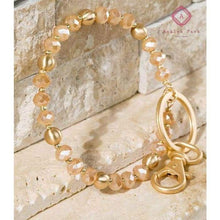 Load image into Gallery viewer, Glass Bead Bracelet/Keyring - Champagne - Jewelry