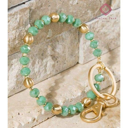 Glass Bead Bracelet/Keyring - Jade - Jewelry