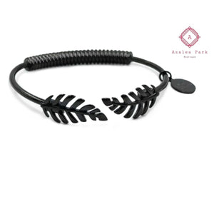 Goddess Collection - Laurel Leaf Bracelet - Black - Kinsley Armelle