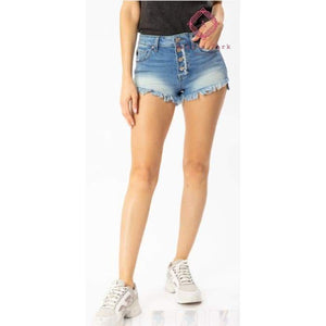 Hazel High Rise Step Hem Shorts - XS / Light Wash - Bottoms