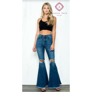 High Rise Distressed Flare - 25 - Bottoms