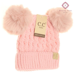Kids Cable Knit Double Matching pom CC Beanie - Hats & Hair Accessories