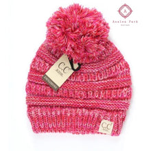 Load image into Gallery viewer, Kids Four-Tone Pom CC Beanie - Hot Pink - Hats & Hair Accessories