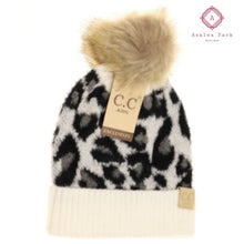 Load image into Gallery viewer, Kids Leopard Pom CC Beanie - Ivory - Hats & Hair Accessories