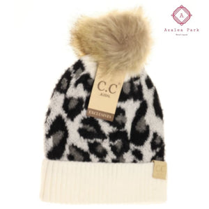 Kids Leopard Pom CC Beanie - Ivory - Hats & Hair Accessories