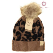 Load image into Gallery viewer, Kids Leopard Pom CC Beanie - Latte - Hats & Hair Accessories