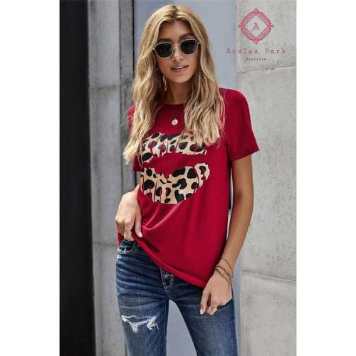 Kiss on The Face Leopard Tee - Top