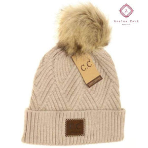 Large Patch Heathered Pom Beanie - Beige - Hats & Hair Accessories