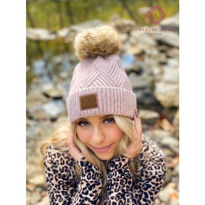 Large Patch Heathered Pom Beanie - Rose - Hats & Hair Accessories