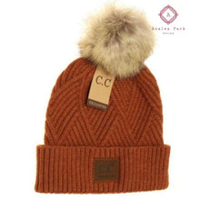 Load image into Gallery viewer, Large Patch Heathered Pom Beanie - Rust - Hats & Hair Accessories