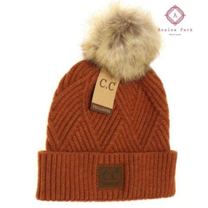 Large Patch Heathered Pom Beanie - Rust - Hats & Hair Accessories