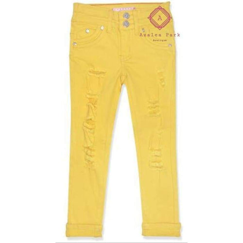 Lemonade Distressed Denim Jeans - 7 / Yellow - Girls Bottoms